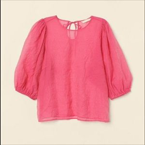 H&M PINK SEE THOUGH PUFF SHORT SLEEVES TOP